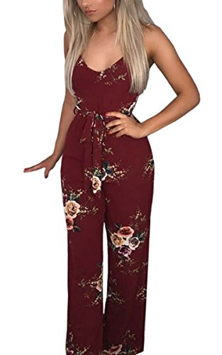 ECOWISH Womens Sexy V Neck Spaghetti Strap Floral Print Jumpsuit High Split Long Pants Rompers Wine Red M