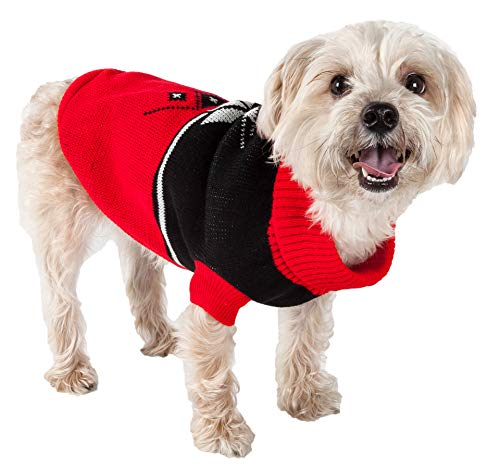 PET LIFE 'Snow Flake' Cable Knit Ribbed Fashion Designer Turtle Neck Pet Dog Sweater, Small, Red and Black For Sale