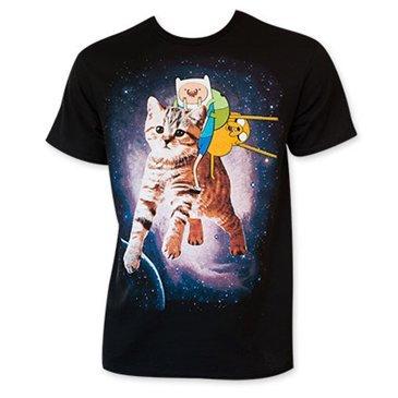 Adventure Time Finn Jake Space Mens T-Shirt, Black (2XL) -
