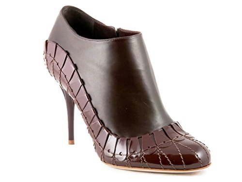 nt Brown Leather Booties Size 37.5 US 7.5 ()