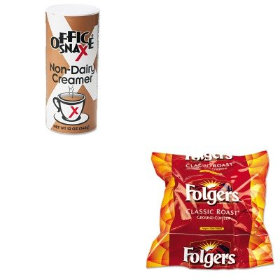 KITFOL06114OFX00020CT - Value Kit - Office Snax Reclosable Canister of Powder Non-Dairy Creamer (OFX00020CT) and Folgers Regular Coffee Filter Pack, .9 Ounce (FOL06114) by Office Snax