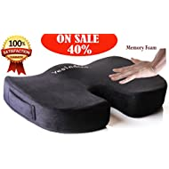 Memory Foam Orthopedic Coccyx Pillow Premium Comfort Seat Cushion for Prolonged Sitting in Office Chair, Car Support and Relief for Tailbone, Spine, Lumbar, Pregnancy, Hemorrhoids, Back Pain, More