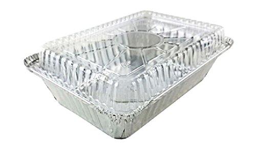 2 1/4 lb. Oblong Aluminum TakeOut Pan w/Dome Lid 25/PK Disposable