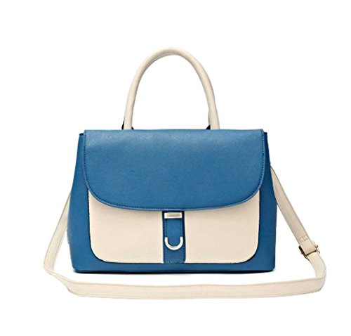 Best Selling Classic Retro Two Tone Handbag Ivory Royal Blue Faux Leather Over the Shoulder Purse Tote Bag Unique Special Christmas Gift Idea Under 40 Dollar 2018 Classy Women Daughter (Ivory/Blue) (Leather Retro Tote)