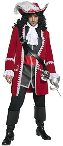 Men's Pirate Captain Costumes (Smiffy's Men's Authentic Pirate Captain Costume, Jacket, pants, Top attached belt and Cravat, Pirate, Serious Fun, Size M, 36174)