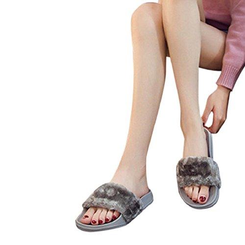 Fheaven Meisjes Slippers Voor Dames Slipper Zachte Platte Sandalen Pels Voor Bont Slip Op Damesschoeisel (us: 6.5 (cn: 38), Black) Grey