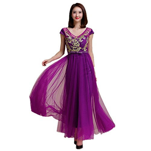 MEI de Prom Maxi mujer Purple de fiesta nbsp;Vintage Noche vestido elegante grande amp;S vestido Larga 1X6Yrqw1