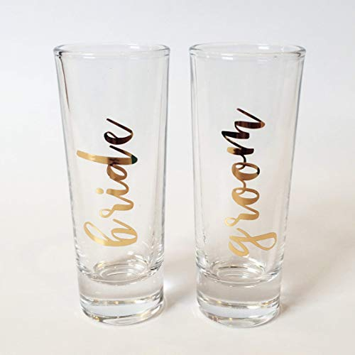 Bride and Groom Shot Glasses with Gold Lettering Set of Two ()
