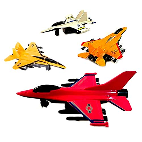 (SoGreat Pull Back Airplane Toys for Kids (4 Pc. Set) Military Fight Jets Collection | Plastic Die-Cast | Inspire Science, Imagination, Social Play, Creativity in Boys and Girls )