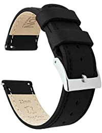 Barton Quick Release - Top Grain Leather Watch Band Strap - Choice of Width - 16mm, 18mm, 19mm, 20mm, 21mm 22mm, 23mm or 24mm - Black 22mm