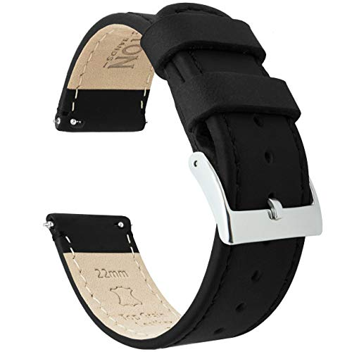 Barton Quick Release - Top Grain Leather Watch Band Strap - Choice of Width - 16mm, 18mm, 19mm, 20mm, 21mm 22mm, 23mm or 24mm - Black 18mm