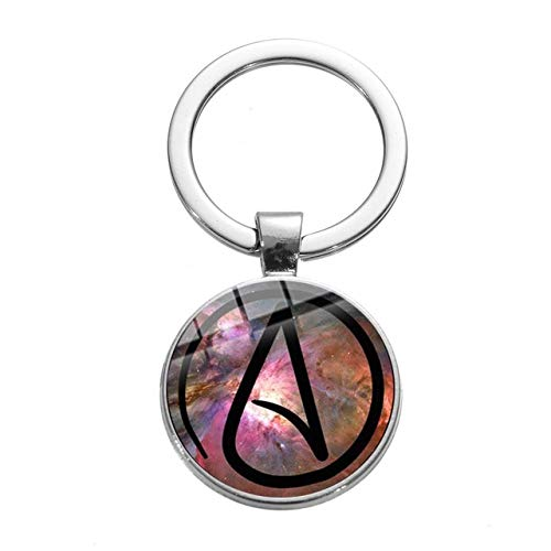 Atheist Atom Symbol Minimalism Keychain Creative Atheism Glass Picture Cabochon Car Key Ring Holder Bag Wallet Jewelry