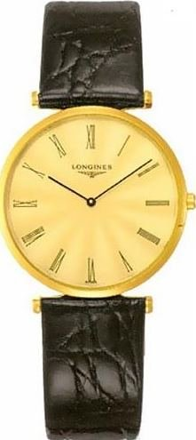 Longines Men's 32mm Black Leather Band Steel Case Swiss Quartz Gold-Tone Dial Analog Watch L4.709.2.41.2 (Longines Wrist Band Watch)
