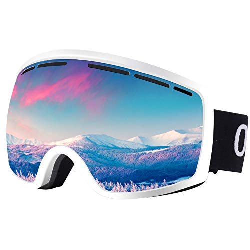 Occffy Ski Goggles Snowboard Sports OTG Goggles, UV Protection Skiing Goggles with Anti Fog for Mens Womens Youth Helmet Compatible HX001 (HX001 White Frame with Silver Lens(VLT11%))