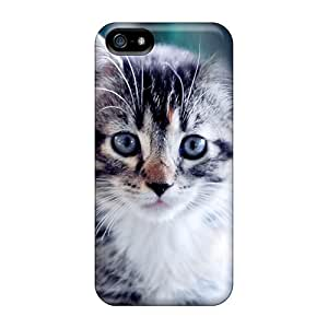 Cute Appearance Cover/tpu NSE2495ZIGR Blue Eyes Kitty Case For Iphone 5/5s