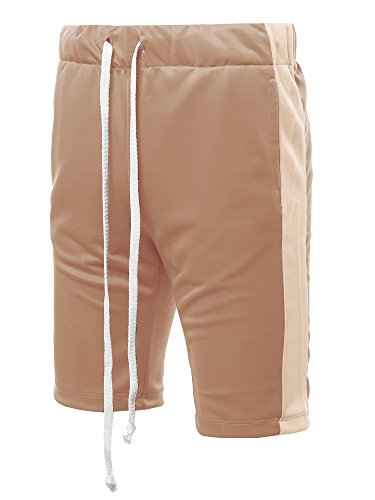 Style by William Casual Side Panel Drawstring Side Pockets Short Track Pants Khaki Beige M