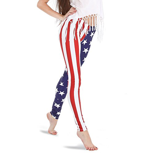 Alexandra Collection Women's Patriotic American Flag USA Athletic Workout Leggings Small
