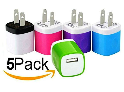 Wall Charger, 5 Pack Universal Portable USB Power Adapter Plug Outlet for iPhone 7 / 6S / Plus, (Ipad Charger Plug)