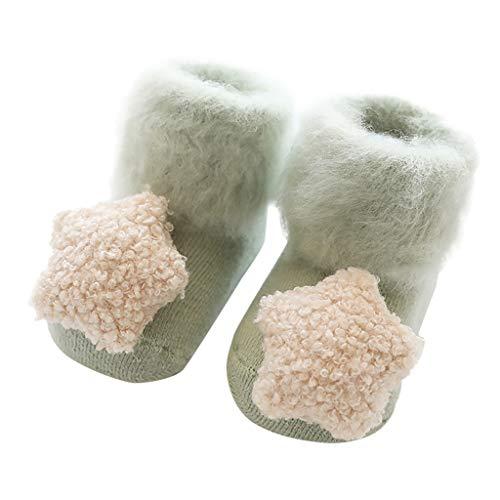 HAALIFE◕‿Newborn Baby Socks Toddler Winter Velvet Thickening Socks Anti Slip Soft Newborn Socks Warm Clothes Accessories Green from HAALIFE Shoes