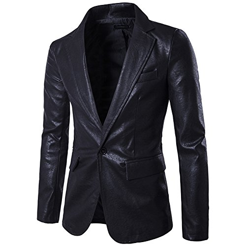 - LOCOMO Men Synthetic Leather One Button Blazer Suit Coat FMJ004BLKXXL