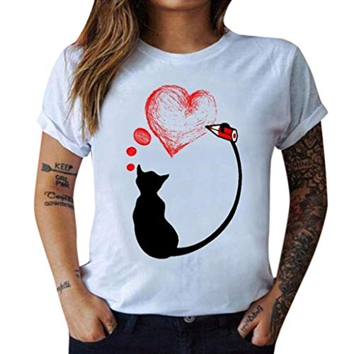 AKwell Womens Love Casual Cat Print O-Neck Tops Short Sleeve T Shirt Loose Tunic Blouse -