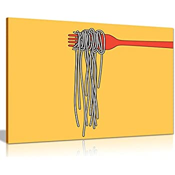 Yellow Pasta Italian Kitchen Restaurant Canvas Wall Art Picture Print