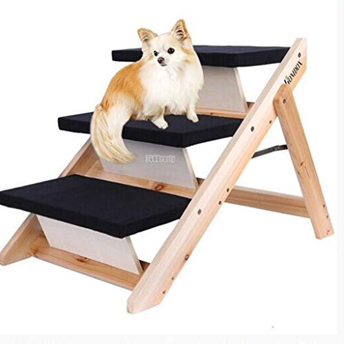- MLMHLMR Folding Pet Stair Big/Puppy/Cat Steps Slope Wooden 3 Steps Pet Passage Stairs/Ladder 47x73x49.5cm Pet Stairs