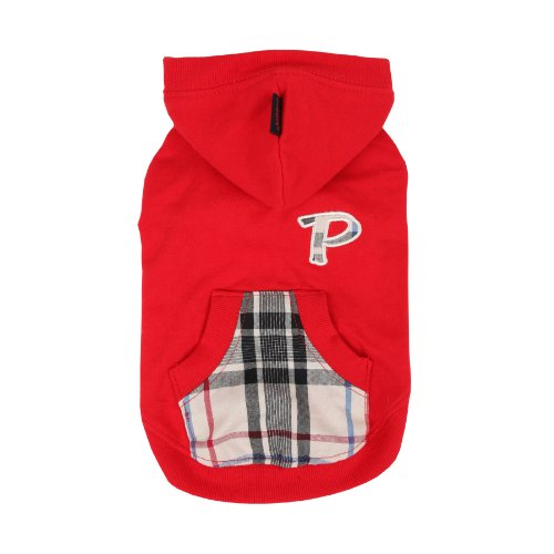 PUPPIA Authentic Modern Hoodie for Pets, Small, Red by Puppia