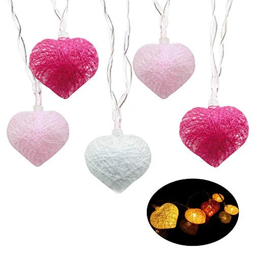 BUSOH Heart Led String Lights [20 LED 7.2 FT] Led Lantern Battery Operated Christmas Lights Heart Shaped Fairy Lights For Homes, Christmas Tree, Wedding Party, Bedroom, Indoor Wall