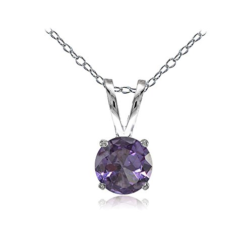 Sterling Silver Simulated Alexandrite 7mm Round Solitaire Necklace