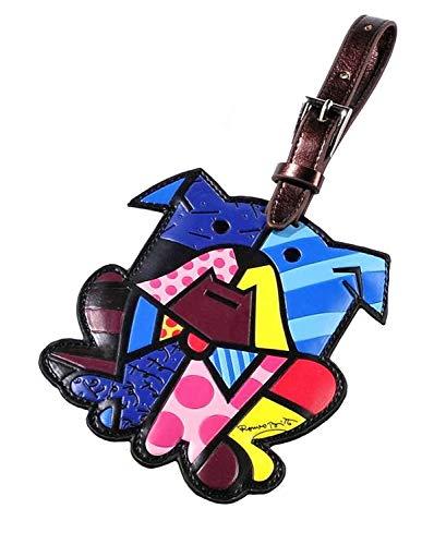 Romero Britto Luggage Tag ID Custom Name (Multicolor/Dog)