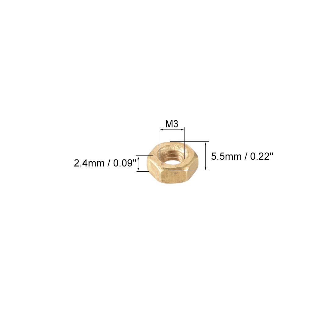 sourcing map 200 St/ücke M3 Metrisch Messing Hexangonal Hexagonal Mutter DE de