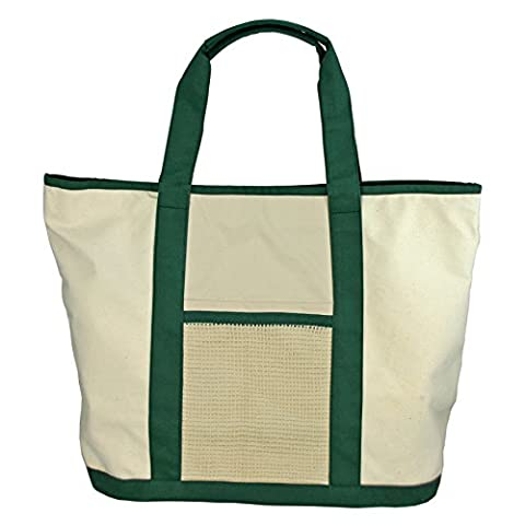 Simple Ecology Organic Cotton Super Duty Canvas Tote and Grocery Bag - Natural/Green
