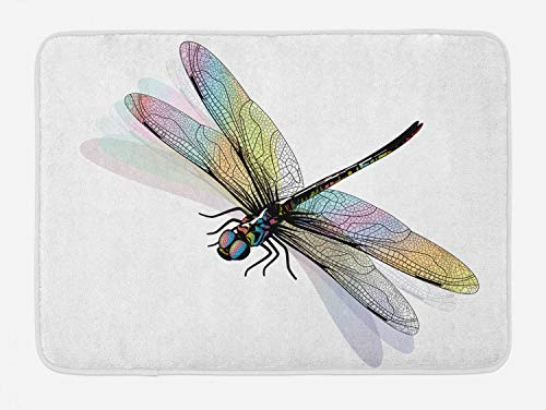 Ambesonne Dragonfly Bath Mat, Shady Dragonfly Pattern with Ornate Lace Style Beauty Wings Design, Plush Bathroom Decor Mat with Non Slip Backing, 29.5