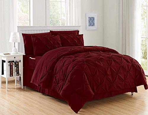 Decotex 8 Piece Luxury Juliet Pintuck Style Bed in a Bag Comforter Bedding Set with Sheets (King, Burgundy)