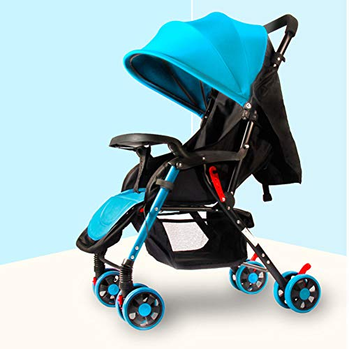 Lightweight Stroller with 5-Point Safety System and Multi-Positon Reclining Seat, Extended Canopy, Easy One Hand Fold, Large Storage Basket, Parent and Child Tray,Blue