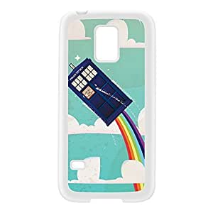 Flying Police Box White Silicon Rubber Case for Galaxy S5 Mini by Nick Greenaway + FREE Crystal Clear Screen Protector