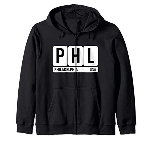 PHL Philadelphia PA USA Travel Souvenir Black Zip Hoodie (Best Zip Codes In Philadelphia)