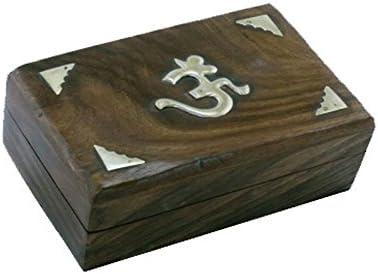 Caja para cartas de Tarot de madera con incrustaciones de latón y «Oṃ» central,cajas para cartas de Tarot, joyeros: Amazon.es: Hogar