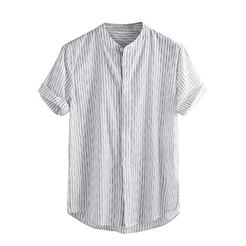 Men's Vintage Baggy Splicing Linen Solid Short Sleeve Retro T Shirts Tops Blouse White