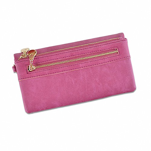 New Women's Wallet Solid Color Frosted Zipper Wrist Belt Coin Purse Clutch (Rose Red) ()
