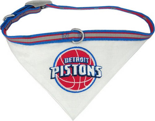 Pets First NBA BANDANA - DETROIT PISTONS DOG BANDANA with Reflective & Adjustable DOG COLLAR, Large