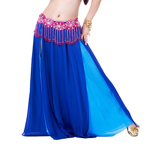 Chiffon Egyptian & Cabaret Belly Dance Skirt Wear with Two Slits Costume Clothes - Dance Belly Cabaret