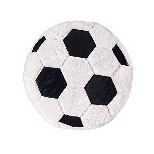 (Ozzptuu Sports Theme Stuffed Plush Throw Pillows Round Shape Back Cushion Home Office Sofa Decor (Soccer), White)