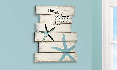 "Giftcraft 19"" Starfish and Beach Sign with ""This is My Happy Place"" Quote"