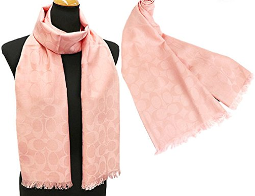 Coach Women's Signature C Wrap Scarf Wool & Silk - Beige/Oatmeal (Pink Blush ()