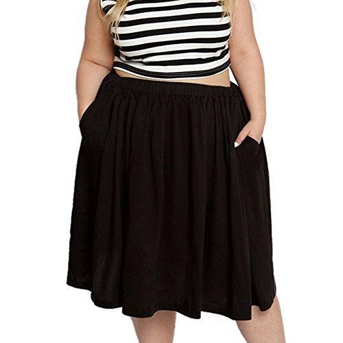 b882e1ebd95 Astra Signature Women s Plus Size Elastic Waist Pleated Chiffon Midi Circle  Skirt with Pocket