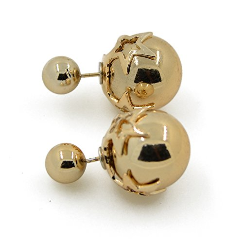 CAETLE Rose Gloden Gold Round Pearl Ball Sea Stud Earrings Lady Girl Women