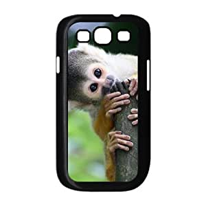 JFLIFE Lovely Monkey Phone Case for samsung galaxy s3 Black Shell Phone [Pattern-1]