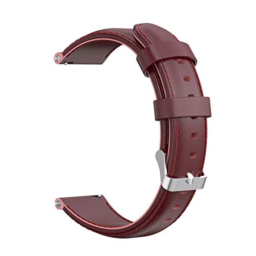 Watermelon Buckle - Freshzone for Huawei Talkband B5 Waxed Leather Watch Band Width 18mm Replacement Watch Strap with Stainless Steel Buckle (Watermelon Red)